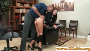 Blonde secretary lets her boss suck her cunt in his office