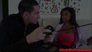 Bonded amateur busty ebony babe gets bf