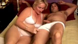 Kinky Erika sucks his boobies