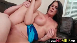 Busty milf, Reagan Foxx is enjoying and rubbing her lover's dick against her soft palms