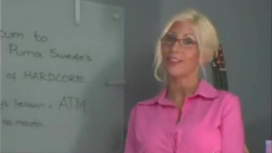 Sexy blonde Puma Swede takes cock into her dirty mouth