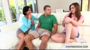 Nerdy chick, Veronica Avluv is sucking a total stranger's dick while kneeling on the couch