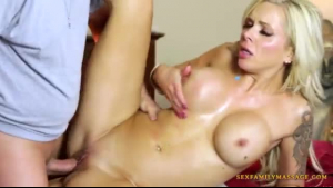 A busty blonde milf doing her lover like animals his girl pussy