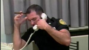 Horny shemale cop sucks and fucks a stud in POV