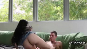 Sensual Latina babe is getting her throat fucked hard, by her white, horny man, in his home