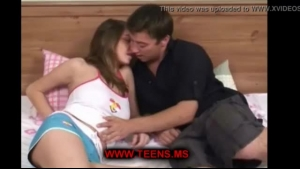 Small titted teen in blue lingerie, Sheena Shaw is giving blowjobs to two guys at the same time