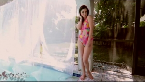 Bailey.s ass gets jizzed by the pool