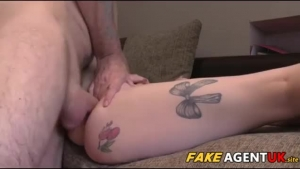 Busty blonde girl is getting her hairy pussy filled up with fresh cream until she cums